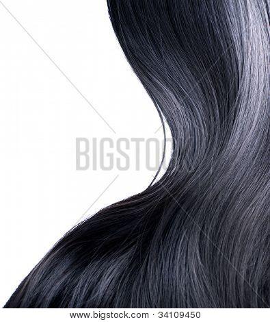 Schwarze Haare isoliert auf weißem Hintergrund
