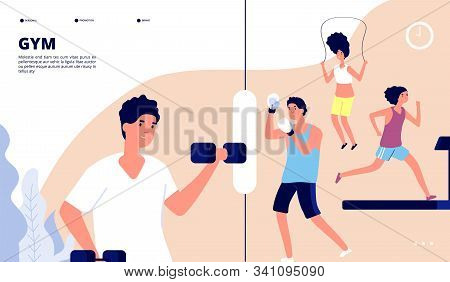 Gym Landing. People Doing Fitness Exercises, Cardio Training And Weight Lifting In Gym. Online Vecto