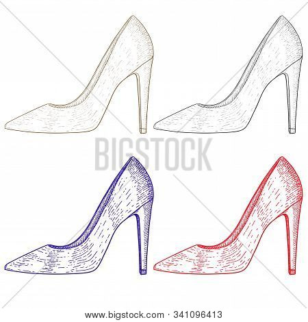 Shoe. Women High Heel. Hand Drawn Sketch. Vector Illustration Isolated On White Background