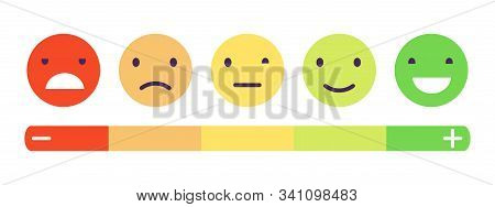 Feedback Emotion Scale. Customers Feedback Vector Concept. Measuring Review Opinions Approval Recomm