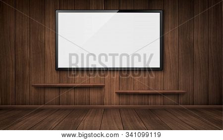 Empty Wooden Room With Wide Tv Screen And Bookshelves. Vector Realistic Blank Lcd Monitor Panel On W