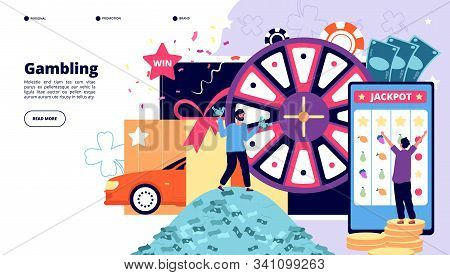 Gambling Landing Page. Happy People Playing Lottery, Slot Machine And Casino Roulette. Win Poker Jac