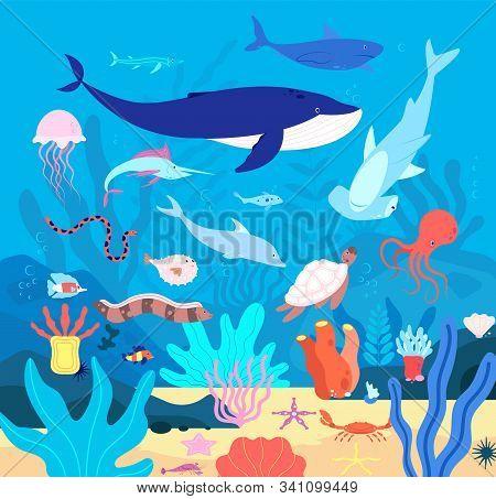 Underwater. Cute Undersea Animals, Cartoon Sea Wildlife. Happy Aquarium Habitat, Oceanic Fishes And