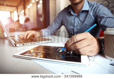 Business Concept. Digital Network, Making Business Plan, Business Investment And Advisor Consulting.
