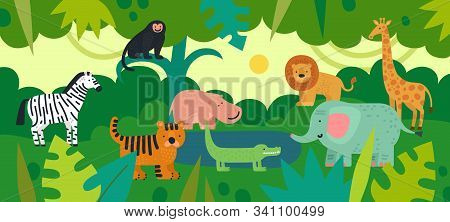 Jungle With Animals. Zebra, Monkey And Hippo, Tiger And Crocodile, Elephant And Lion, Giraffe With T