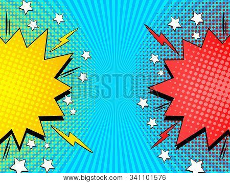 Comic Rivalry Concept With Yellow And Red Speech Bubbles Lightnings Stars Halftone And Radial Effect