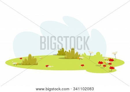 Empty Meadow, Lawn Flat Vector Illustration. Beautiful Green Glade With No People Isolated On White