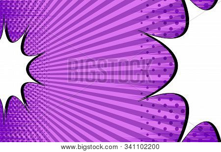 Comic Rivalry Purple Template With White Speech Bubbles Opposite Each Others Radial Rays And Halfton