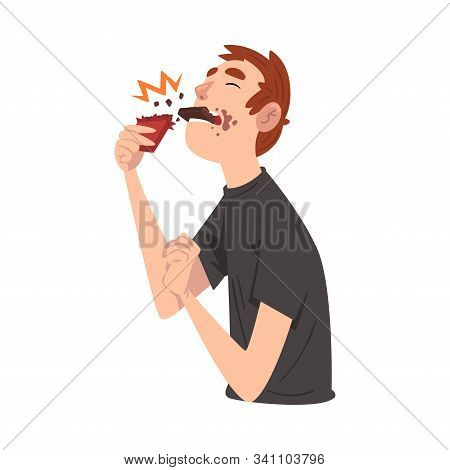 Guy Eating Chocolate, Funny Man Cartoon Character Enjoying Eating Sweets Vector Illustration