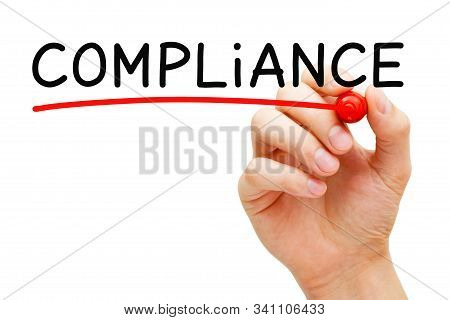 Hand Writing The Word Compliance With Marker On Transparent Wipe Board Isolated On White Background.