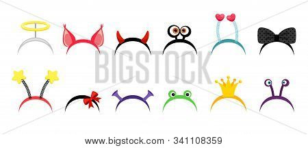 Photo Booth Hair Hoops. Funny Jewelry For Girls With Crown, Bows And Horns. Vector Fantasy Head Acce