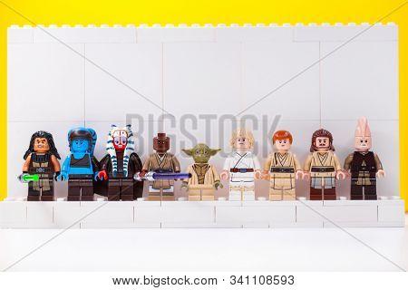 RUSSIA, SAMARA: December 18, 2019. Constructor Lego Star Wars. Jedi, Members of the High Council, Mace Windu, Yoda, Obi-Wan Kenobi, Ki-Adi-Mundi, Qui-Gon Jinn
