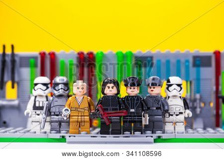 RUSSIAN, SAMARA - December 18, 2019. LEGO STAR WARS. Minifigures Star Wars Characters - Episode 7, Kylo Ren, Phasma, Snoke, Hux and Squad of stormtroopers