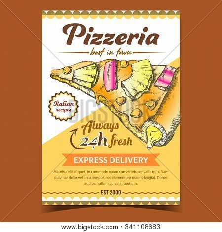 Pizza Italian Recipes Restaurant Banner Vector. Cooked Slice Cheese Pizza With Pineapple And Corn Ma