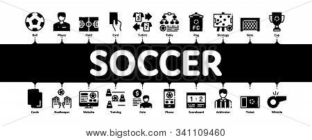 Soccer Football Game Minimal Infographic Web Banner Vector. Soccer Playing Ball, Player And Arbitrat