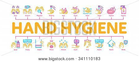 Hand Healthy Hygiene Minimal Infographic Web Banner Vector. Hand Protection, Washing With Anti Bacte