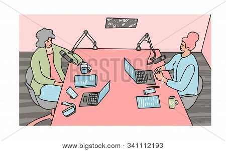 Podcast Concept. Two Women Have A Conversation In A Studio People Recording A New Podcast Episode To