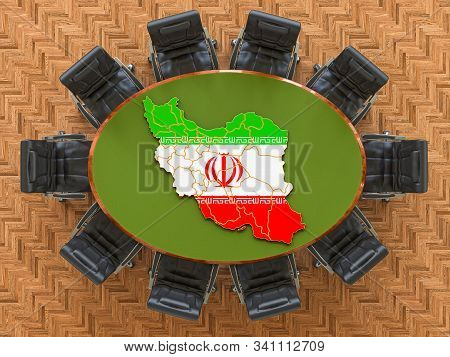 Iranian Goverment Meeting. Map Of Iran On The Round Table, 3d Rendering