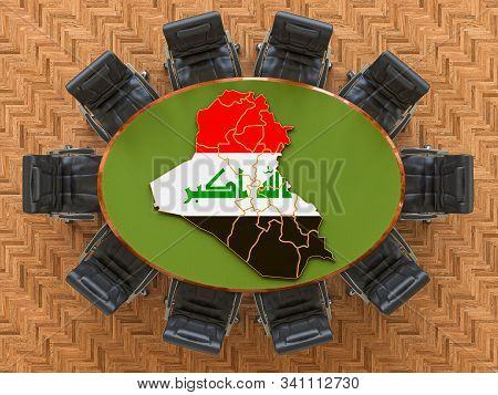 Iraqi Goverment Meeting. Map Of Iraq On The Round Table, 3d Rendering