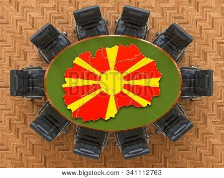 Macedonian Goverment Meeting. Map Of Macedonia On The Round Table, 3d Rendering