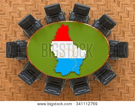 Luxembourgish Goverment Meeting. Map Of Luxembourg On The Round Table, 3d Rendering