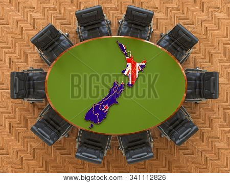 New Zealand Goverment Meeting. Map Of New Zealand On The Round Table, 3d Rendering