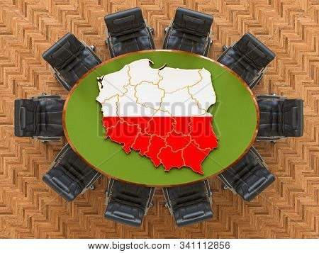 Polish Goverment Meeting. Map Of Poland On The Round Table, 3d Rendering