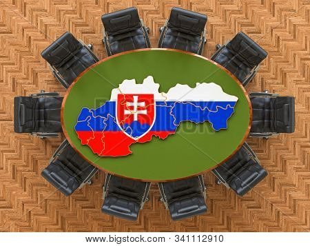 Slovak Goverment Meeting. Map Of Slovakia On The Round Table, 3d Rendering