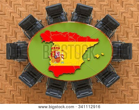 Spanish Goverment Meeting. Map Of Spain On The Round Table, 3d Rendering