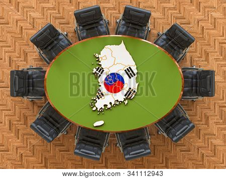 South Korean Goverment Meeting. Map Of South Korea On The Round Table, 3d Rendering