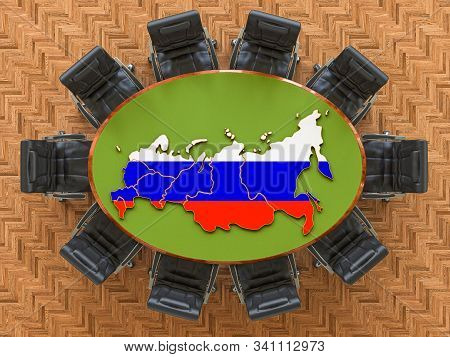 Russian Goverment Meeting. Map Of Russia On The Round Table, 3d Rendering