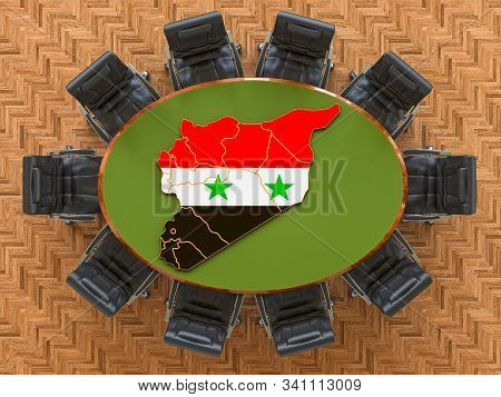 Syrian Goverment Meeting. Map Of Syria On The Round Table, 3d Rendering