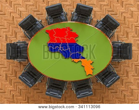 Armenian Goverment Meeting. Map Of Armenia On The Round Table, 3d Rendering