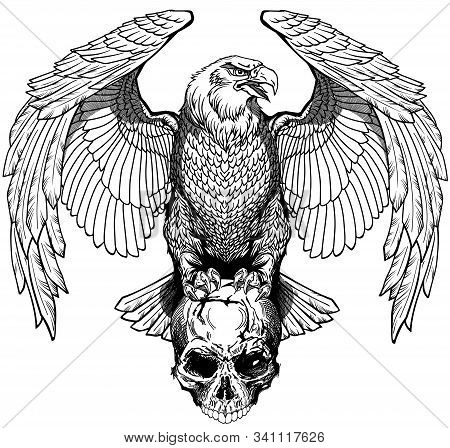 Eagle Sitting On The Human Skull. Black And White Tattoo Or Shirts Design Style Vector Illustration.