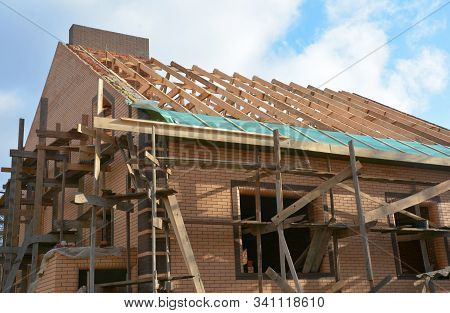 Unfinished Brick House Rooftop Roofing Construction Attic Trusses, Wooden Beams, Eaves, Timber, Scaf