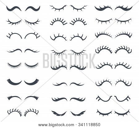 Face Lashes. Pretty Girl Cartoon Eyes Vector Set Graphic Elements Lashes. Pretty Eyelash, Graphic Gi