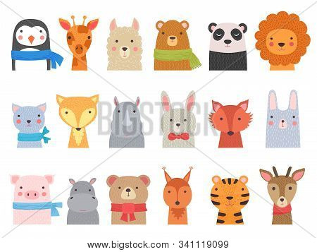 Cute Baby Animals. Children Funny Wild Alphabet Animals Hippo Fox Bear Vector Hand Drawn Collection.