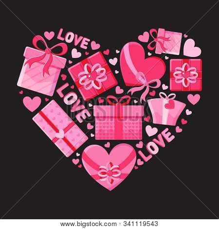 Valentines Day. Greeting Card Or Banner For Valentine S Day. Pink Gift Boxes, Heart, Lettering Love