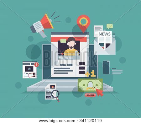 Web Blogging. Monitor With Content Marketing Symbols On Screen Promote Blog Website Digital Technolo