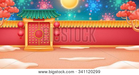 Full Moon With Fireworks Over Closed Buddhist Temple. Salute And Gates Or Entrance, Cloud Or Snow, R
