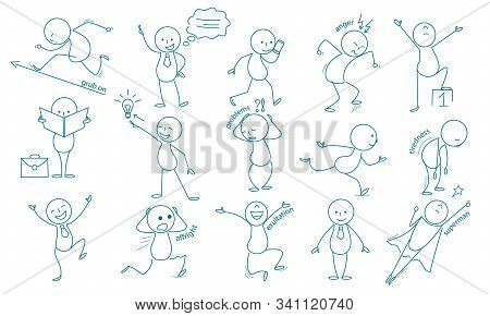 Business Stickman. Hand Drawn Characters People Figures Expressions Jumping Running Holding Pointing