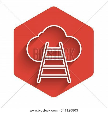 White Line Ladder Leading To Cloud Icon Isolated With Long Shadow. Stairs Leading To The Cloud. Red