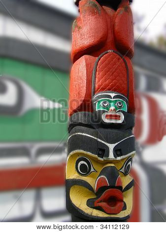 Detail Totem pole carved from cedar Thunderbird Park Victoria BC Canada poster