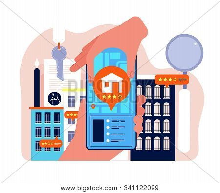 Real Estate Search. Apartment Rent Or Selling Company Network Buying Houses Vector Concept. Illustra