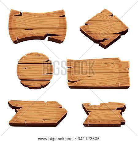 Wooden Banners. Empty Sign Boards For Advertising Blank Cartoon Wooden Texture Vector Template. Boar