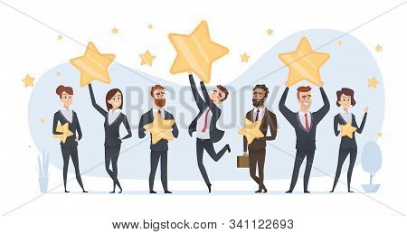 Rating Stars. People Holding In Hands Various Stars Of Ratings And Reviews Vector Business Concept.