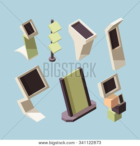Exhibition Stand. Advertising Market Shelves And Desks Vector Isometric Mockup Collection. Exhibitio