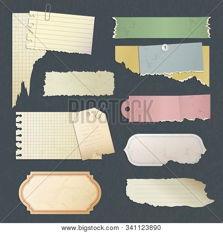 Scrapbook Paper. Old Scratched Antique Blank Stickers Or Card For Diary Memos Papers Vector Collecti