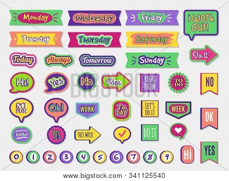 To Do Stickers. Planner Sticky Paper Organizer Labels Badges For Agenda Notepad Trendy Lettering Dif