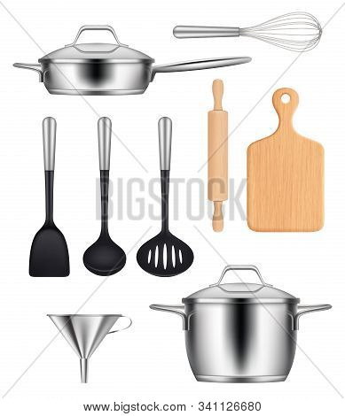 Kitchen Utensils. Pans Steel Pot Griddles Knives Items For Cooking Food Vector Realistic Images Set.